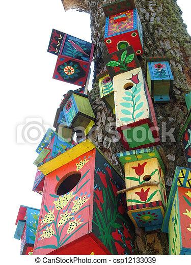 Cajas de pájaros de color - csp12133039