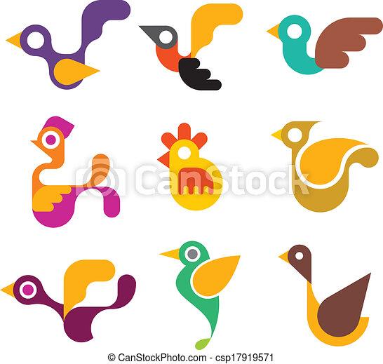 iconos de aves - csp17919571