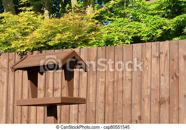 pájaro, marrón, casa de madera - csp80551545