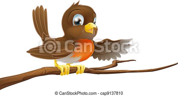 Robin pájaro en rama señalando - csp9137810
