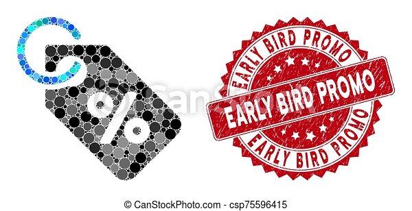pájaro, temprano, collage, estampilla, promo, descuento, textured, etiqueta - csp75596415
