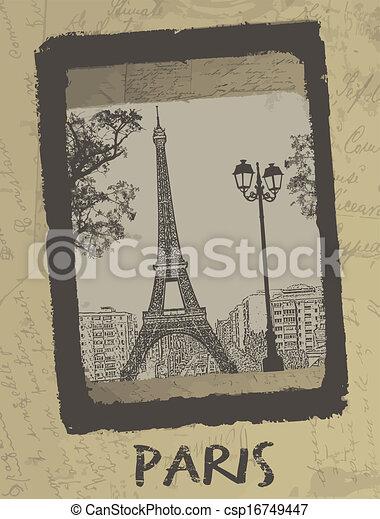 párizs, szüret, levelezőlap, - - csp16749447