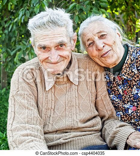párosít, boldog, öreg, idősebb ember, vidám - csp4404035
