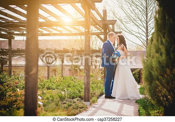 párosít, boldog, esküvő, hatalom kezezés - csp37258227