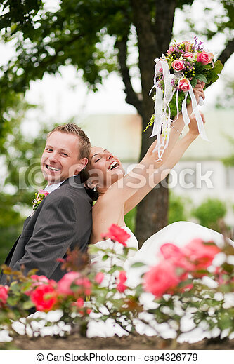 párosít, esküvő, -, boldog - csp4326779