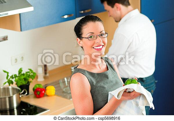 párosít, főzés, együtt, konyha - csp5698916