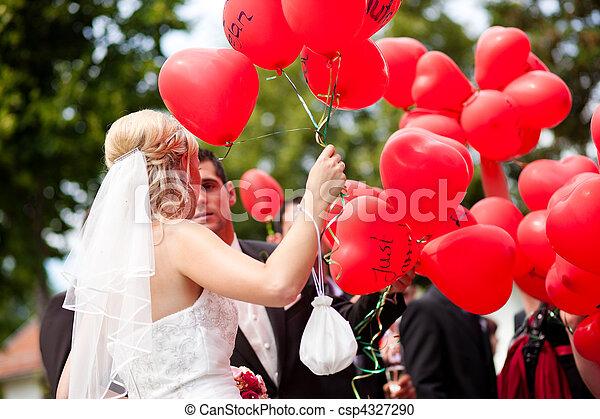 párosít, léggömb, esküvő - csp4327290