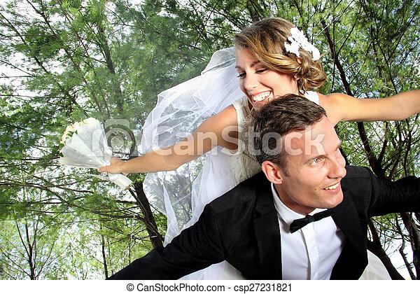 párosít, newlywed, együtt, boldog - csp27231821