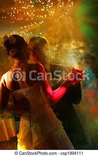 párosít, newlywed, tánc - csp1994111