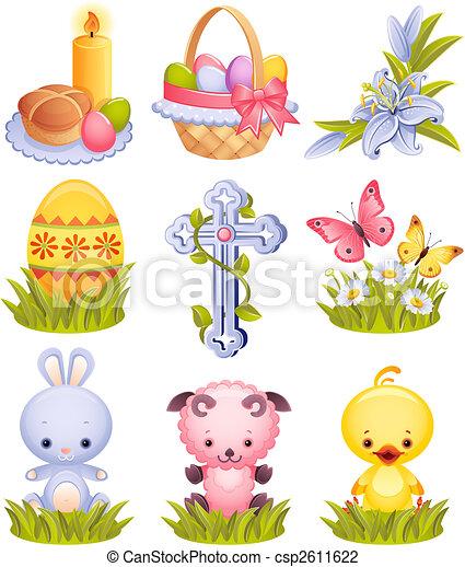 páscoa, ícones - csp2611622