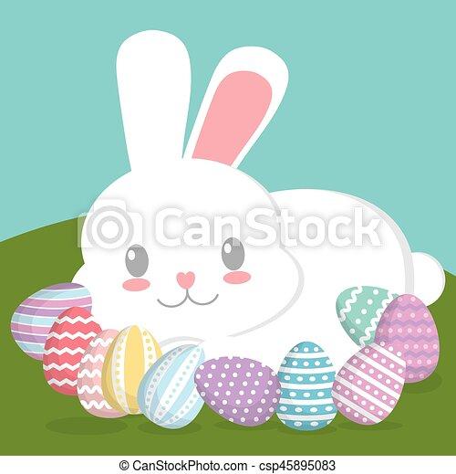 Pascoa Desenho Feliz Cute Coloridos Eggs Concept