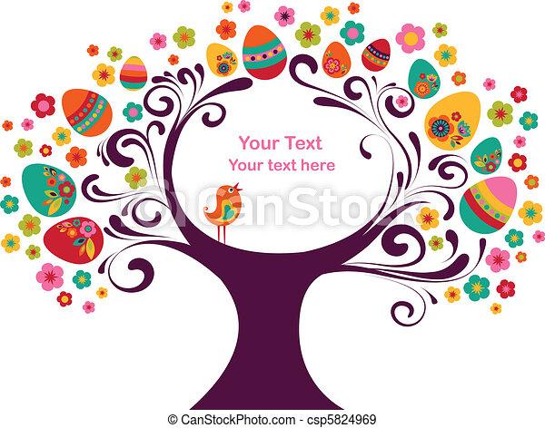páscoa, quadro, árvore - csp5824969