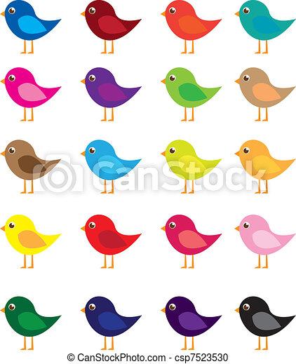pássaros, caricatura - csp7523530