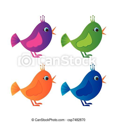 Pássaros, coloridos. Azul, violeta, coloridos, sobre, isolado ...
