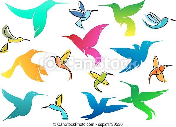 Pássaros, coloridos, hummingbird. Fauna, coloridos, voando ...