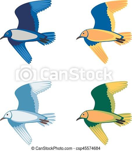 Pássaros, jogo, coloridos, voando, ilustração, vetorial.