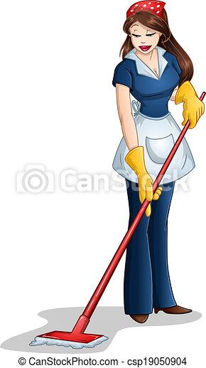 pâque, femme, nettoyage, lavette - csp19050904