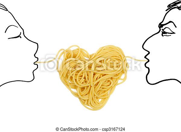 pâtes, (valentine`s, theme), amour, jour - csp3167124