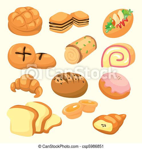 pão, caricatura, ícone - csp5986851