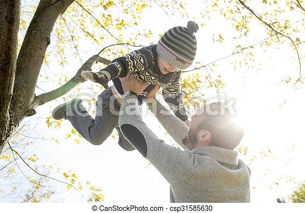 père, fils, automne, park., portrait, heureux - csp31585630