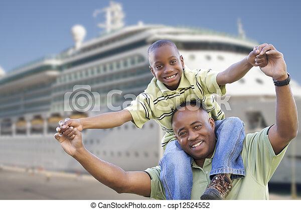 père, fils, croisière, devant, bateau, heureux - csp12524552