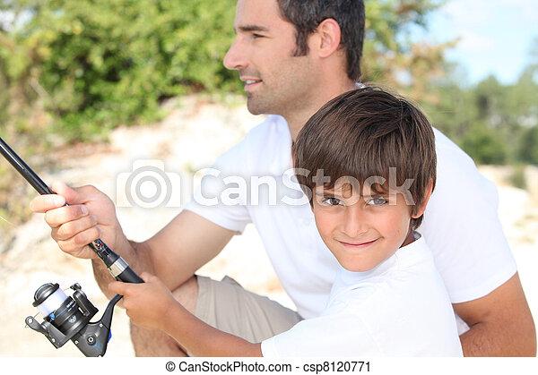 père, fils, liaison, peche, pendant, voyage - csp8120771