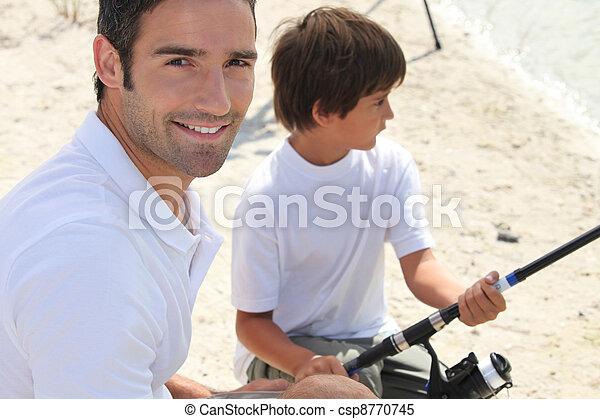 père, fils, liaison, peche, pendant, voyage - csp8770745