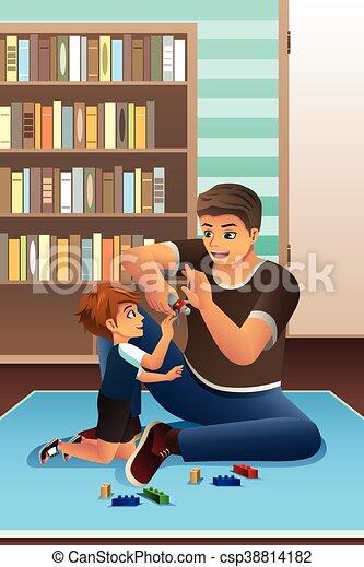 père, jouer ensemble, fils - csp38814182