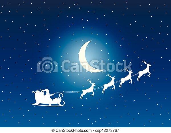 Pere Noel Santa Lune Stars Vecteur Fond Traineau Sleigh