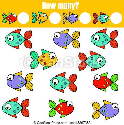 pédagogique, gosses, objets, beaucoup, jeu, comment, tâche, activity., dénombrement, enfants - csp48367383