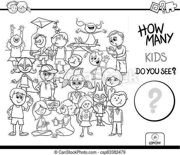 pédagogique, tâche, couleur, livre, dénombrement, enfants - csp63382479