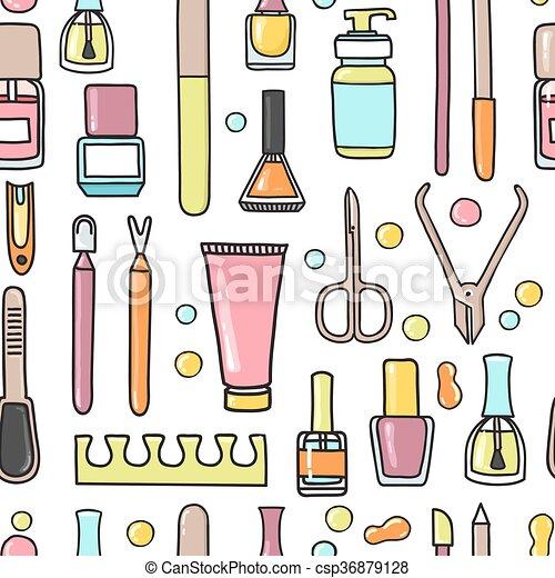 pédicure, modèle, equipment., seamless, vecteur, manucure, griffonnage - csp36879128