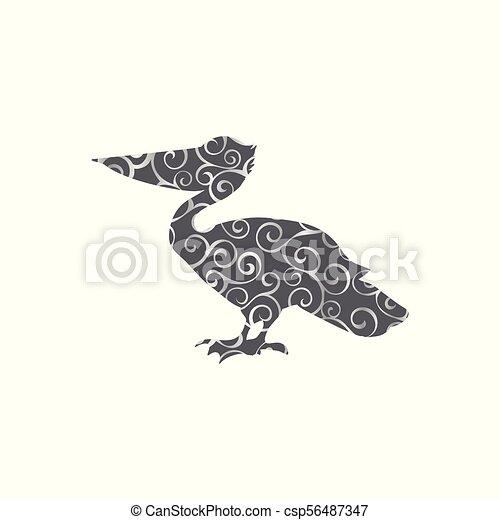 pélican, silhouette, couleur, modèle, spirale, animal., oiseau - csp56487347
