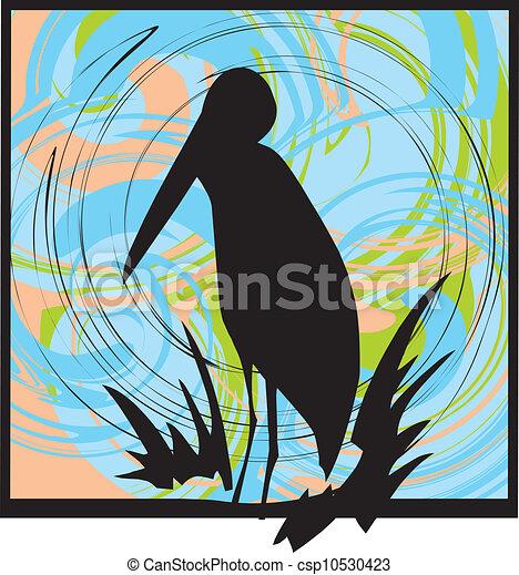pélican, silhouette - csp10530423