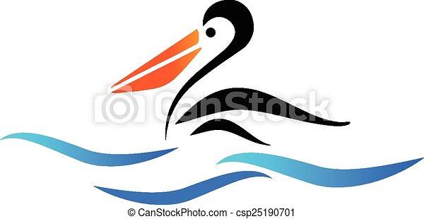 pélican, vecteur, plage, oiseau, logo - csp25190701
