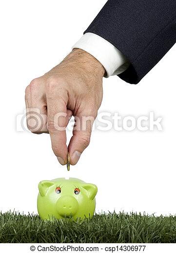 pénz, megmentés, piggy-bank, üzletember - csp14306977