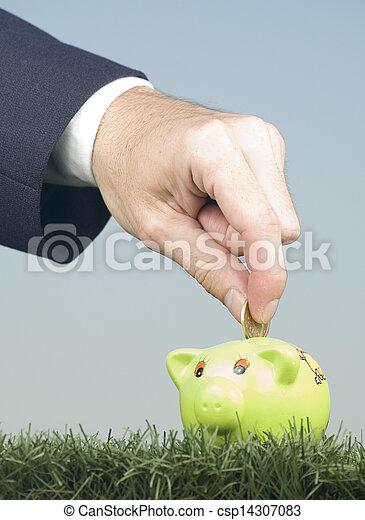 pénz, megmentés, piggy-bank, üzletember - csp14307083