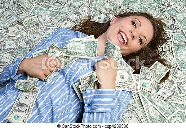 pénz, nő - csp4239308