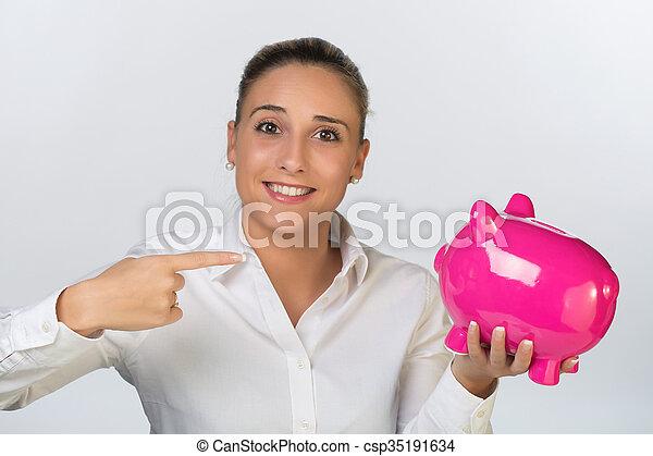 pénz, nő, megmentés, fiatal - csp35191634