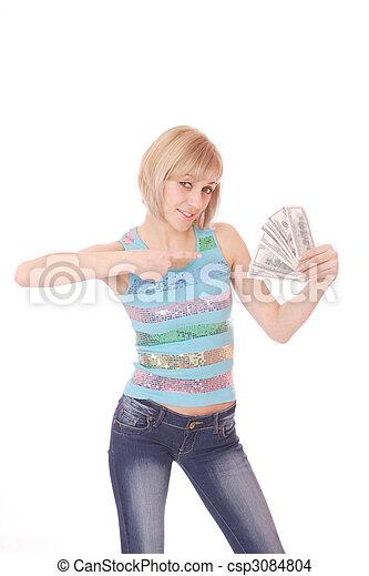 pénz, nő - csp3084804