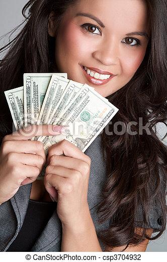 pénz, nő - csp3704932