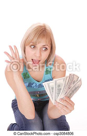 pénz, nő - csp3084806