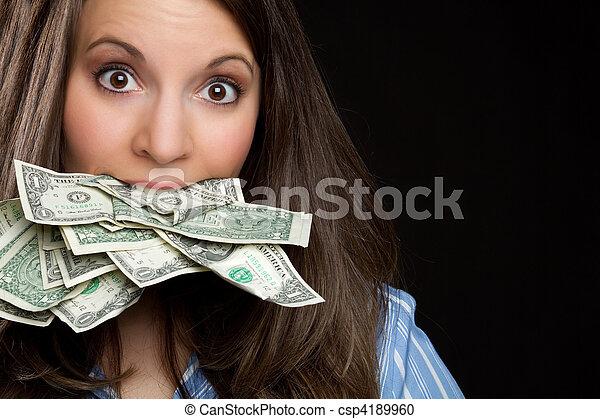 pénz, woman eszik - csp4189960