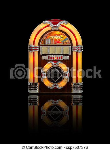 pénzbedobós gramofon automata, rádió, öreg, elszigetelt, fekete - csp7507376