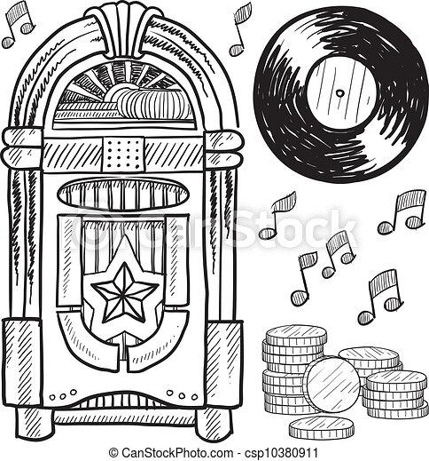 pénzbedobós gramofon automata, skicc, retro - csp10380911
