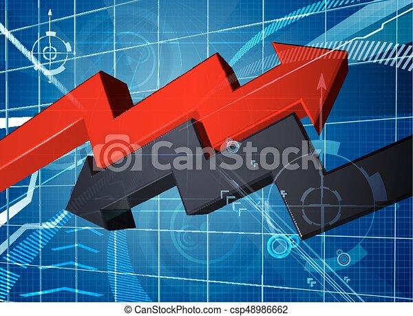 Pérdida de ganancias de la flecha de negocios fondo gráfico - csp48986662