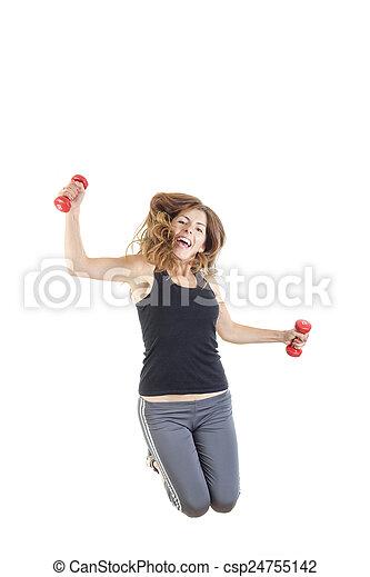 pérdida, peso, salto, doblar, hembra, condición física, modelo - csp24755142