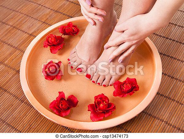 pés, obtendo, terapia, femininas, aroma - csp13474173