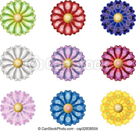 Pétalos, flores, seda. Seda, camomila, transvaal, pétalos, nueve ...
