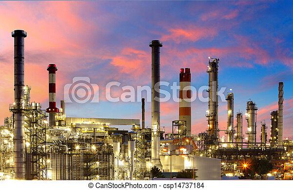 pétrochimique, -, essence, usine, raffinerie, huile, crépuscule - csp14737184